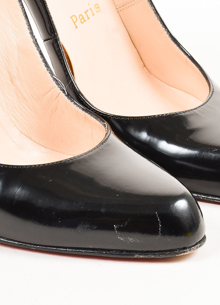 "Christian Louboutin Black Patent Leather Pointed ""Decolette 868"" Pumps Detail"