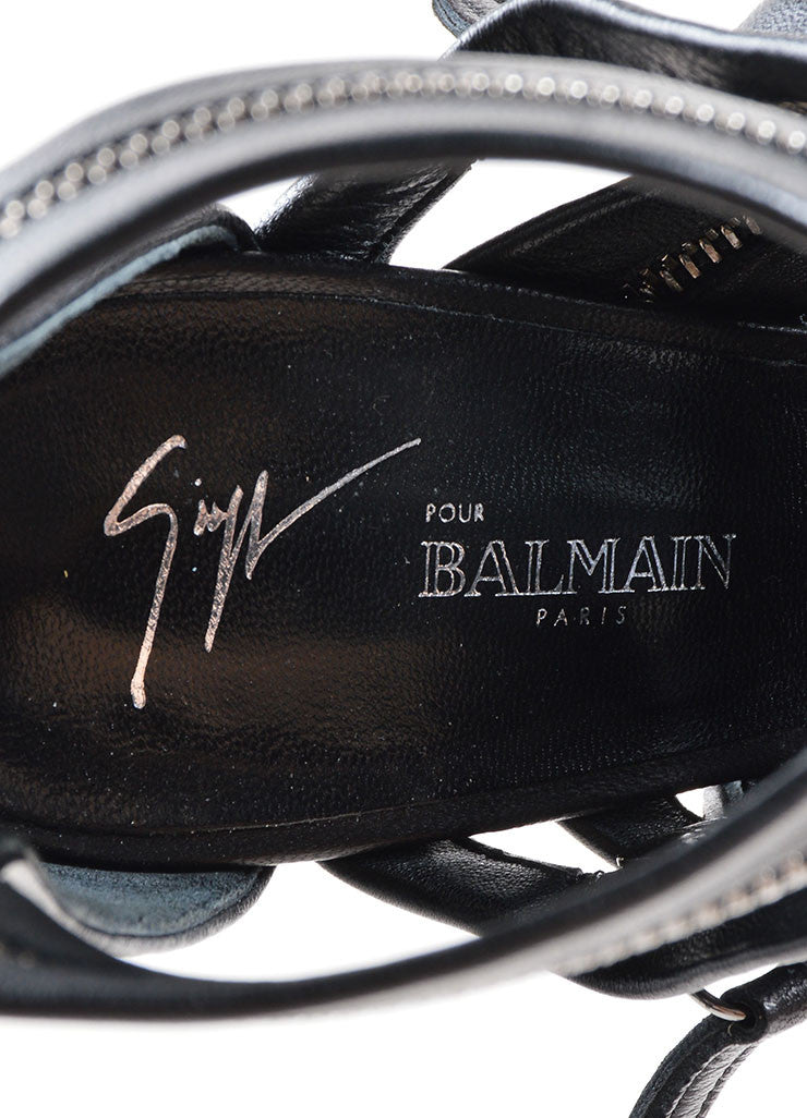 Giuseppe Zanotti for Balmain Black Leather Zipper Embellished Sandals Brand