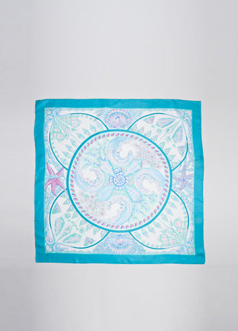 "Blue, Green, and Pink Hermes Silk Shell Print ""Parures Oceanes"" 90cm Scarf Frontview 2"