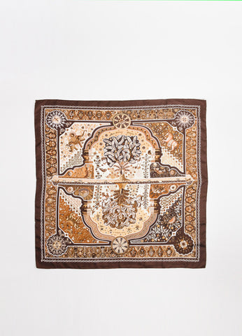 "Hermes Brown and Cream Silk Printed ""Aux Portes du Palais"" Scarf Frontview 2"