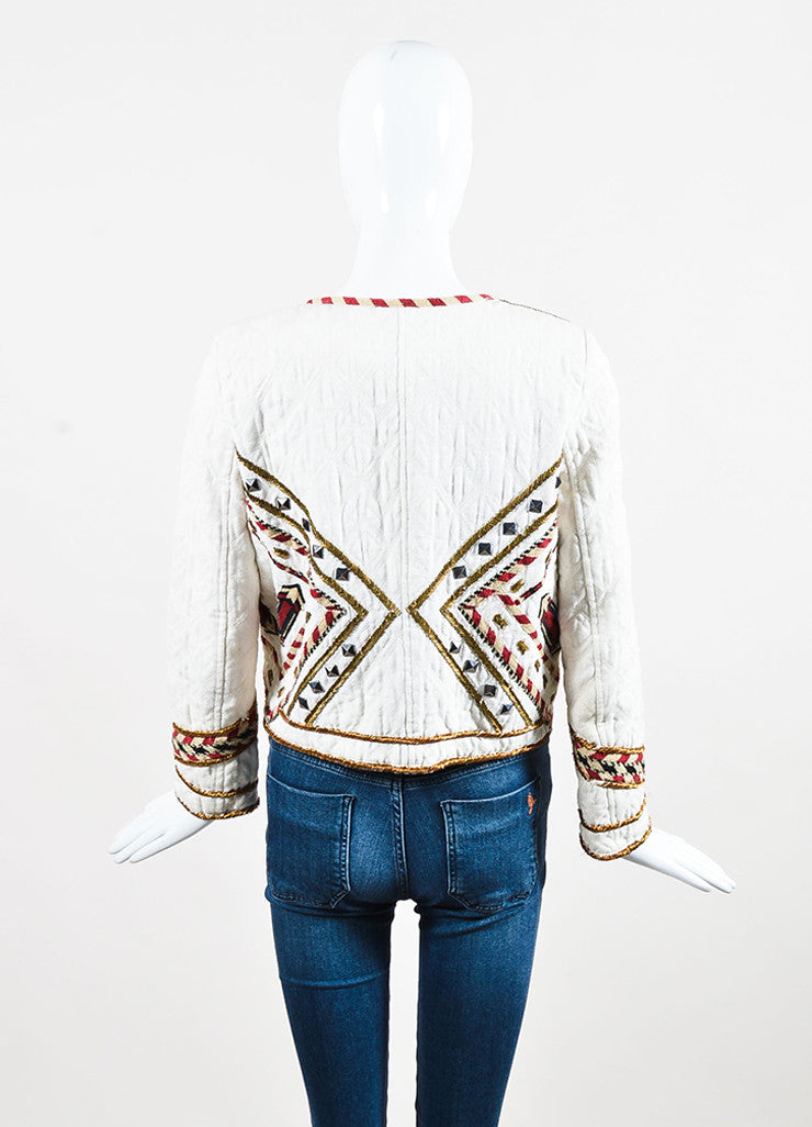 "isabel Marant Cream and Red Twill Quilted Embroidered ""Hippo"" Jacket Backview"