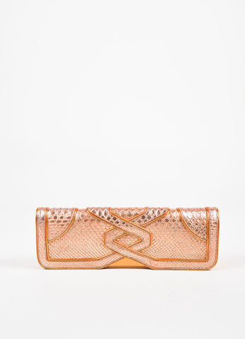 "Katherine Fleming Orange Metallic Python ""Jane"" Clutch Frontview"