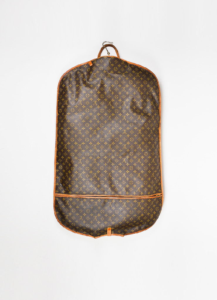 Brown and Tan Louis Vuitton Monogram Coated Canvas Leather Hanging Garment Bag Backview