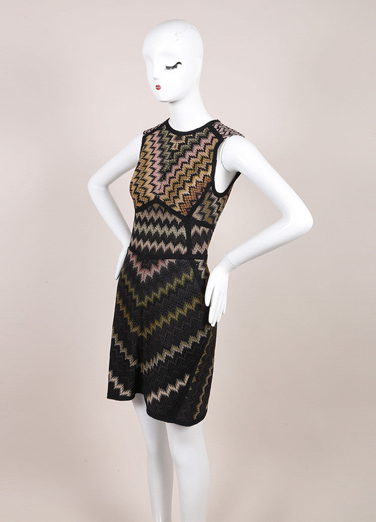 Missoni Black and Multicolor Wool Blend Knit Chevron Print Sleeveless Dress Sideview