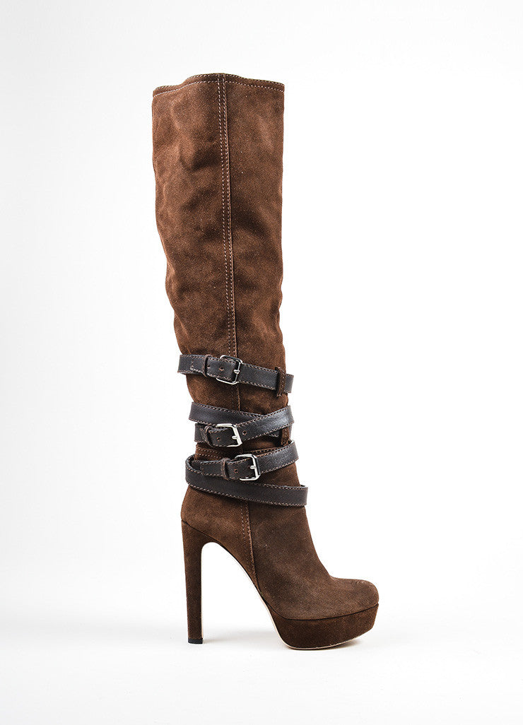 Brown Miu Miu Suede Leather Buckle Strap Platform Knee High Boots Sideview