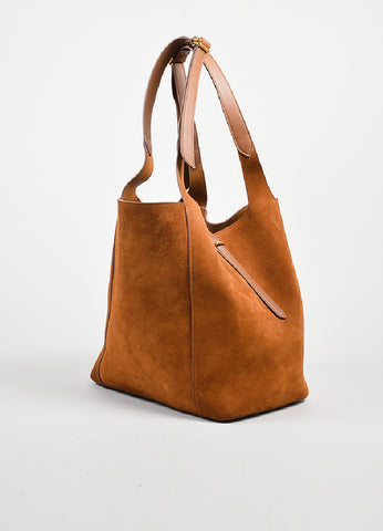 "Almond Brown Nina Ricci Suede Leather ""Faust"" Bucket Bag with Pouch Sideview"