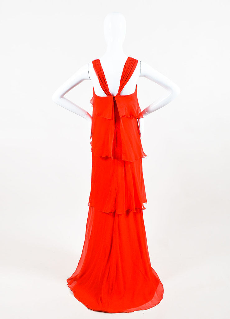 Red Pamella Roland Chiffon Asymmetrically Tiered Ruffle Dress Back