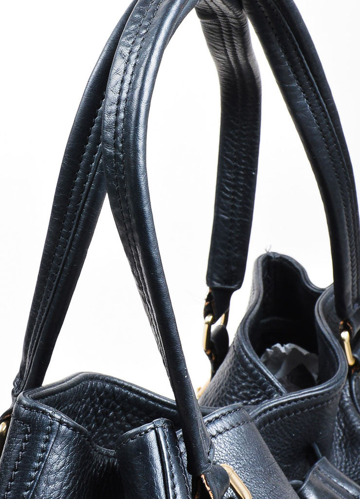 "Black Leather Prada ""Cervo Antik"" Drawstring Tassel Slouchy Carryall Tote Bag Detail 2"