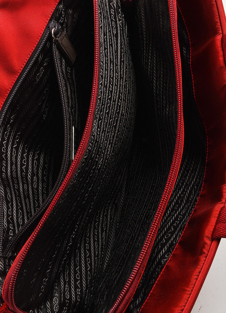 Red Prada Tessuto Nylon Three Compartment Tote Bag Detail 4