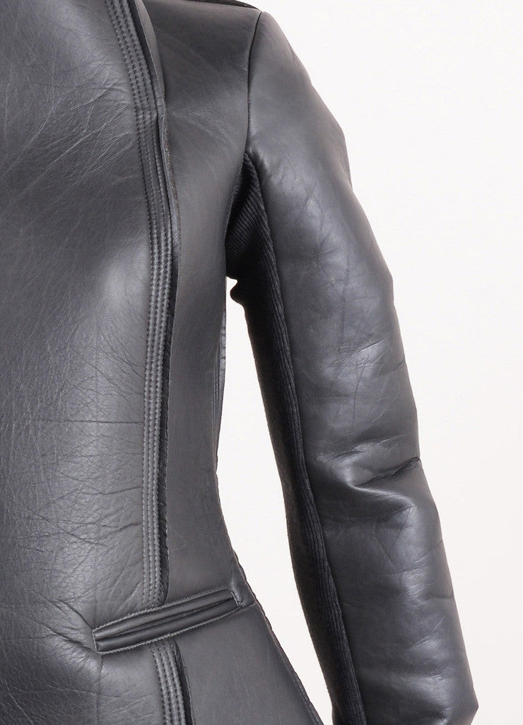 "Rick Owens New With Tags Grey Leather Neoprene Rib Trim ""Eileen"" Jacket Detail"