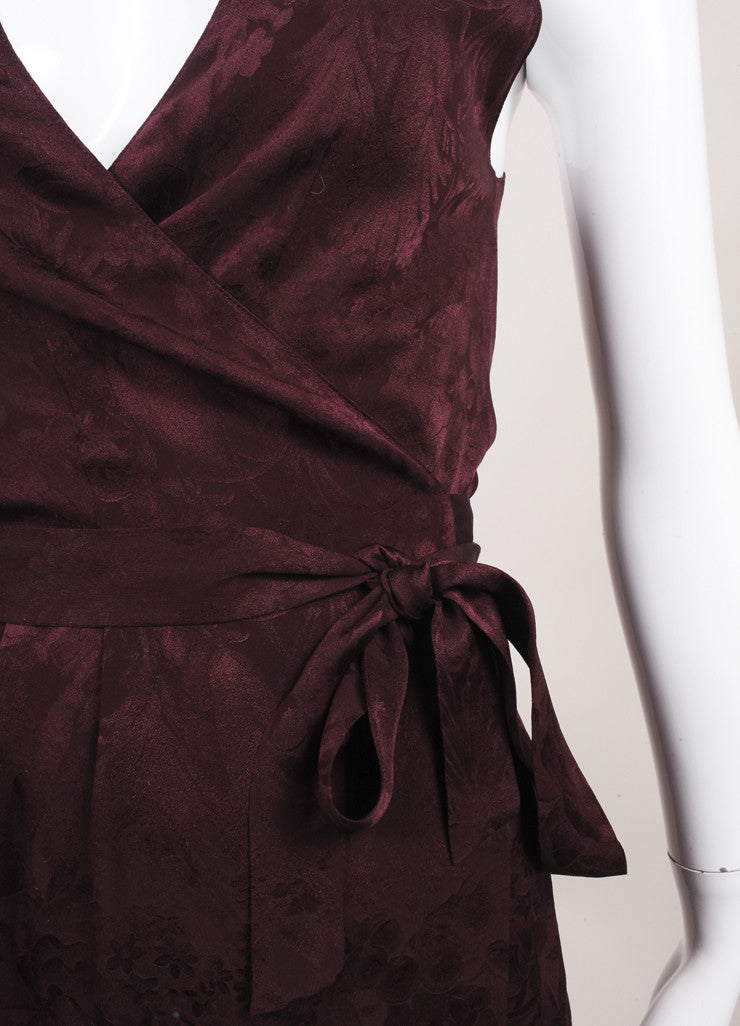 "The Row New With Tags ""Mulberry"" Purple Floral Satin Jacquard ""Channa"" Wrap Top Detail"