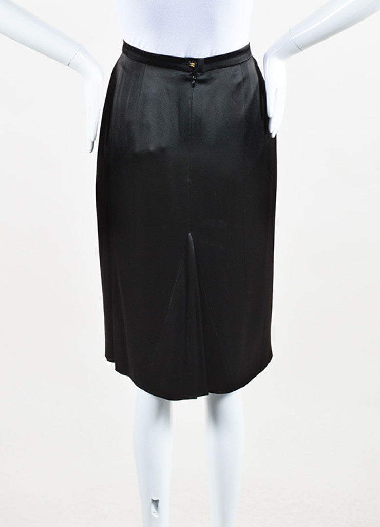 Chanel 95A Black Satin 'CC' Button Skirt Back