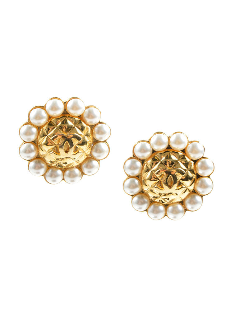 "Chanel Gold Toned and Faux Pearl Quilted ""CC"" Logo Button Earrings Frontview"