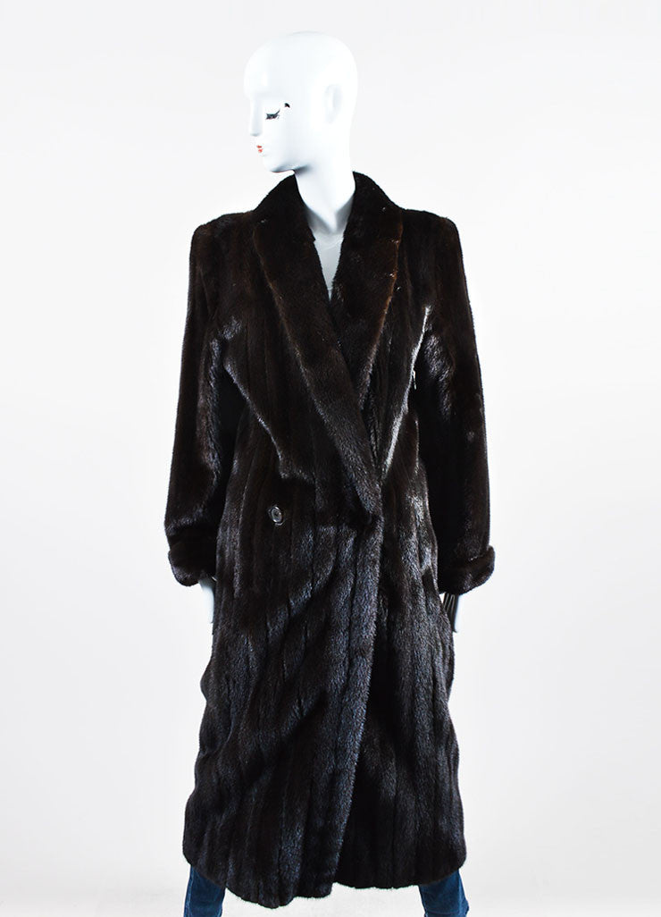 Brown Ralph Lauren Mink Fur Long Coat Frontview