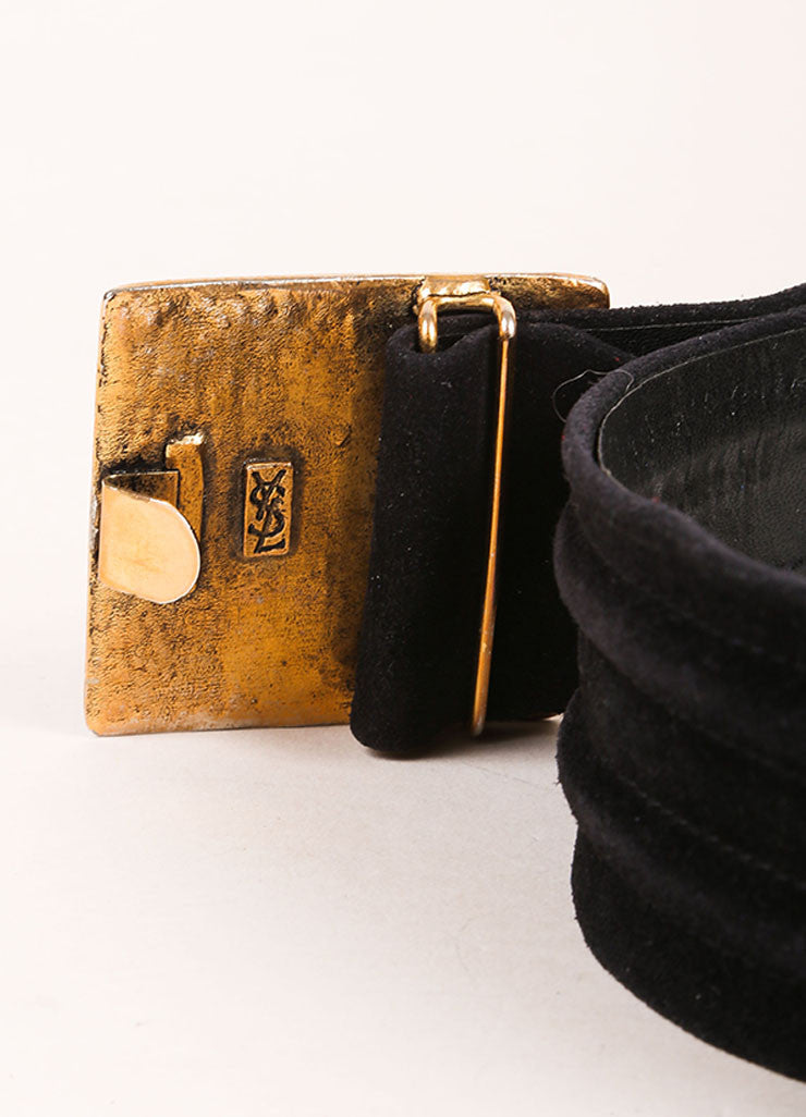 Yves Saint Laurent Black and Brass Toned Suede Rhinestone Plate Belt Detail 2