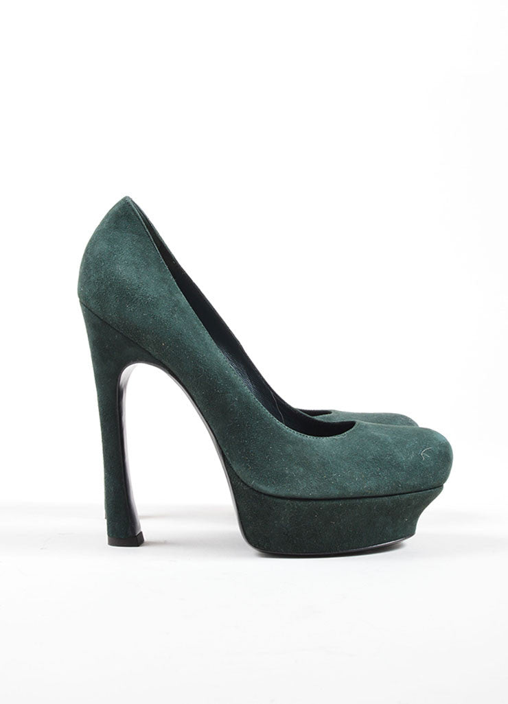 Yves Saint Laurent Dark Green Suede Platform Pumps Sideview