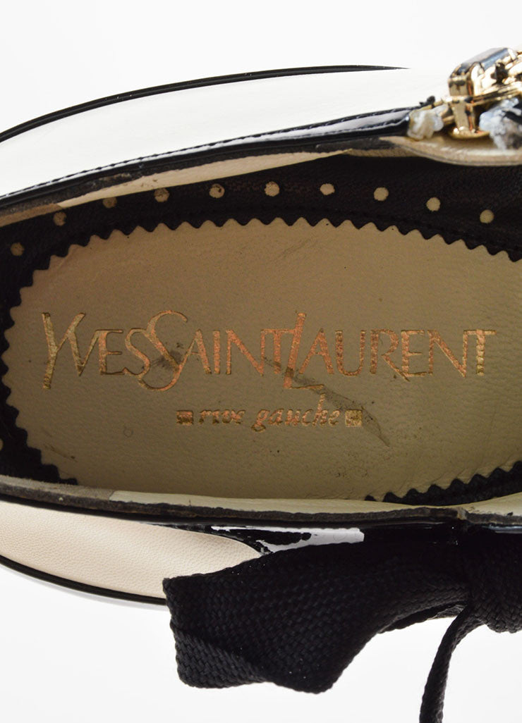 Yves Saint Laurent White & Black Leather Ankle Booties Brand