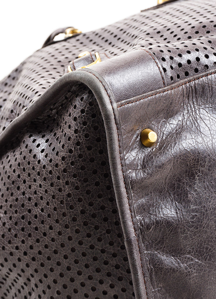 "Balenciaga Dark Grey Distressed Leather ""Classic Perforated Work"" Bag Detail 2"