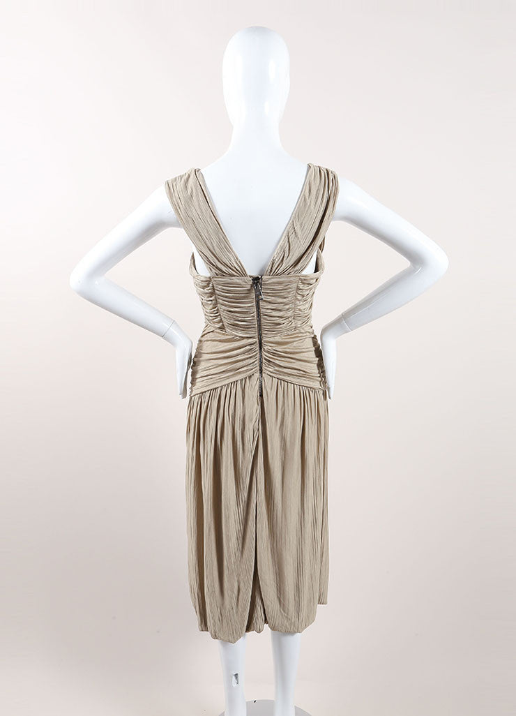 Burberry Prorsum Taupe Ruched Sleeveless Midi Dress Backview