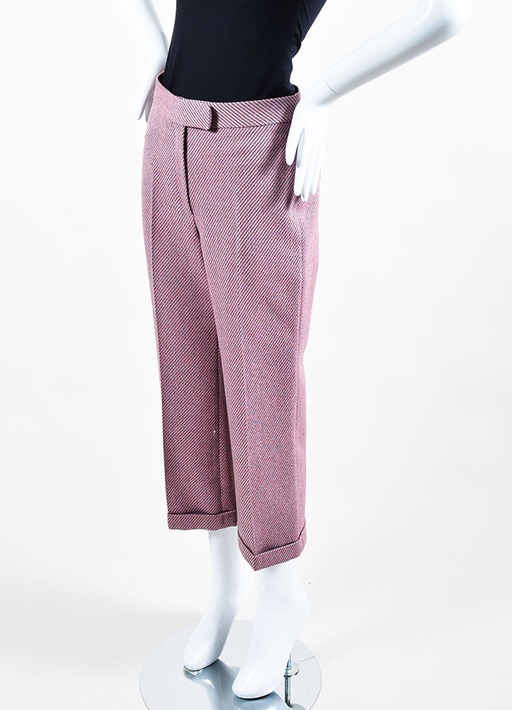Pink and Multicolor Christian Dior Wool Stripe Wide Leg Trouser Pants Sideview