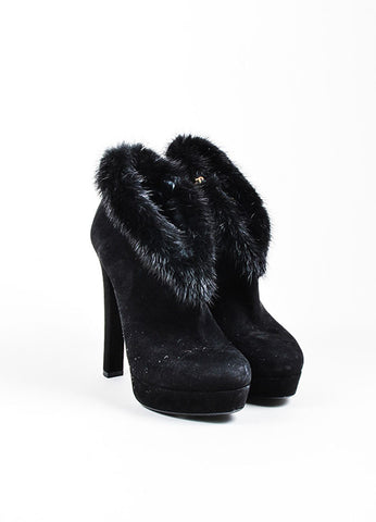 Black Gucci Suede Fur Trim Side Zip Platform Ankle Booties Frontview