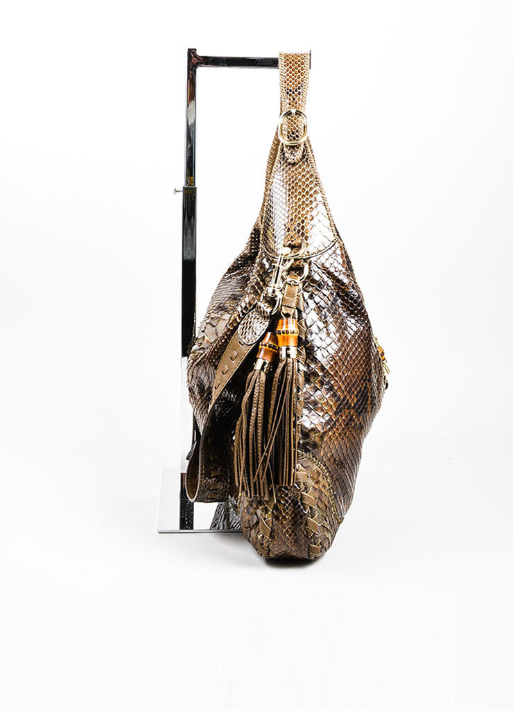 "Brown Gucci Python Leather ""New Jackie"" Hobo Shoulder Bag Sideview"
