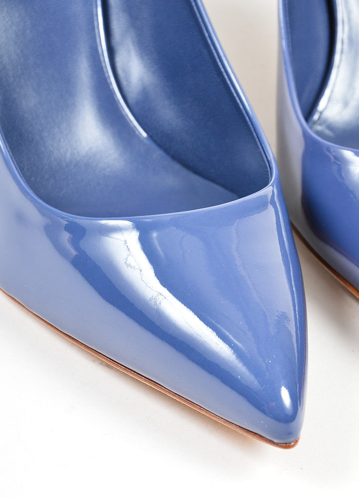 "Blue Gucci Patent Leather Pointed Toe Bamboo Heel ""Kristen"" Pumps Detail"