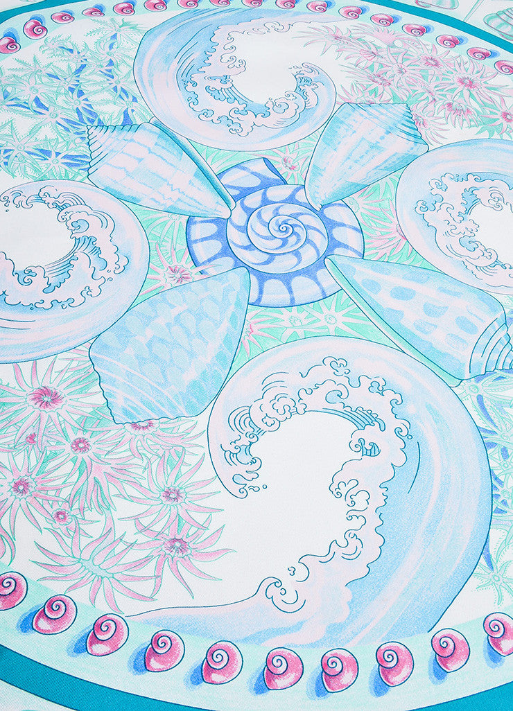 "Blue, Green, and Pink Hermes Silk Shell Print ""Parures Oceanes"" 90cm Scarf Detail"