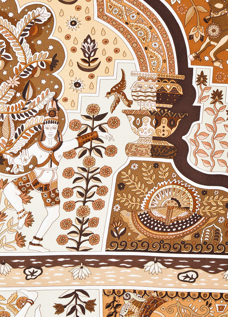 "Hermes Brown and Cream Silk Printed ""Aux Portes du Palais"" Scarf Detail"