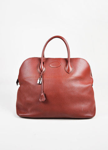"Hermes 'Rouge Venitienne' Clemence Leather Palladium Hardware ""Bolide 45"" Bag Frontview"