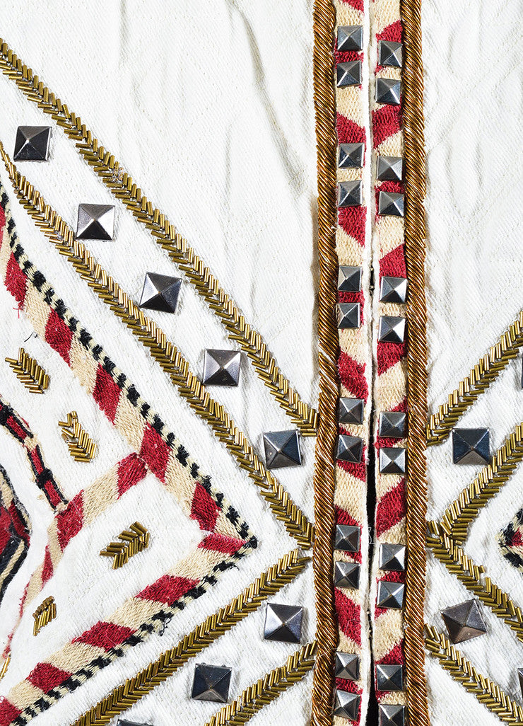 "isabel Marant Cream and Red Twill Quilted Embroidered ""Hippo"" Jacket Detail"