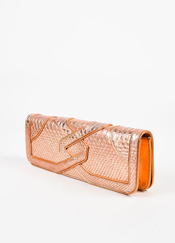 "Katherine Fleming Orange Metallic Python ""Jane"" Clutch Sideview"