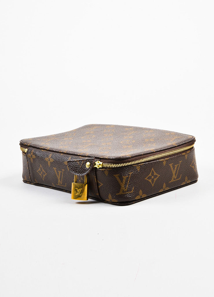 "Louis Vuitton Brown Coated Canvas Monogram ""Monte Carlo Jewelry Box'' Sideview"