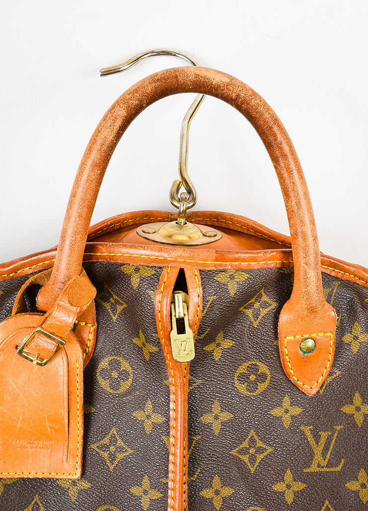 Brown and Tan Louis Vuitton Monogram Coated Canvas Leather Hanging Garment Bag Detail