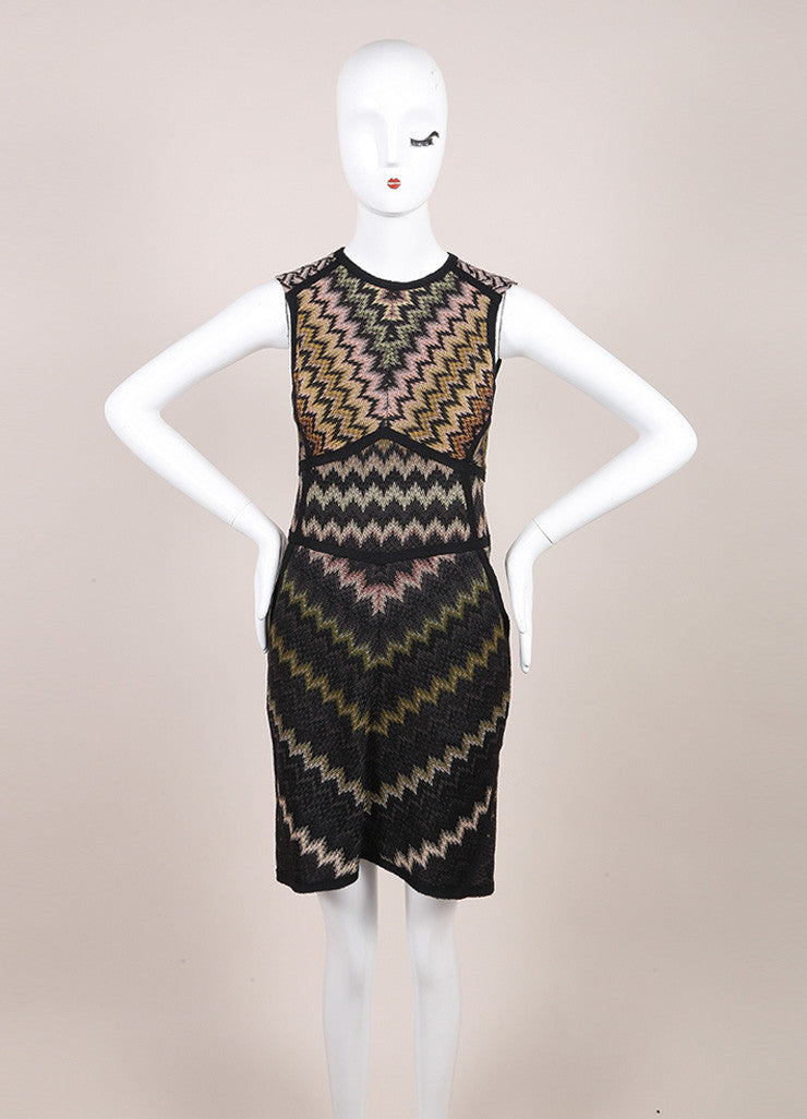 Missoni Black and Multicolor Wool Blend Knit Chevron Print Sleeveless Dress Frontview
