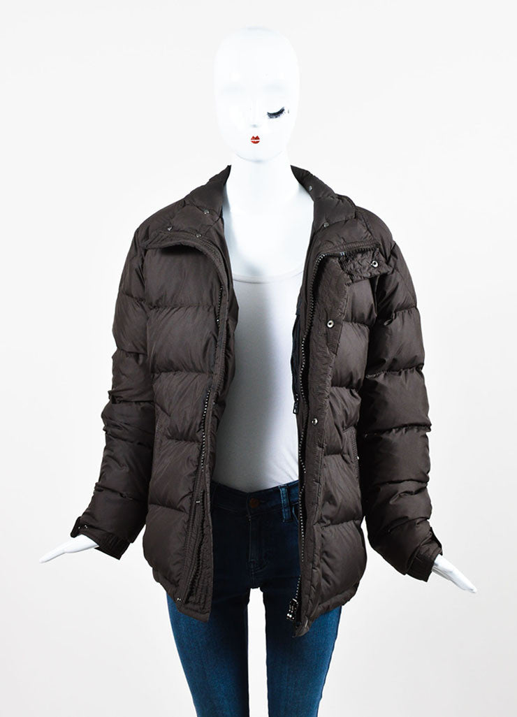 Moncler Chocolate Brown Nylon Down Quilted Puffer Coat Frontview