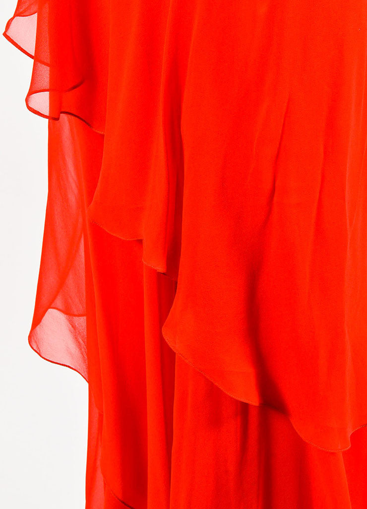 Red Pamella Roland Chiffon Asymmetrically Tiered Ruffle Dress Detail