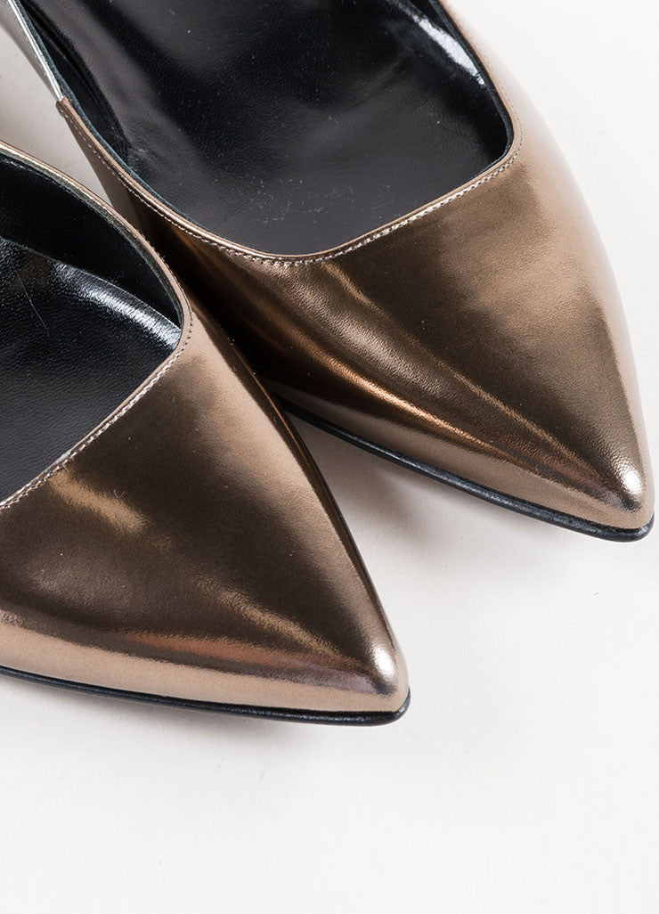 Pierre Hardy Silver and Bronze Leather Pointed Ballerina Flats Detail