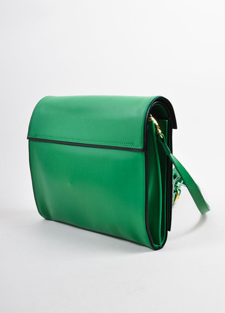 Pierre Hardy Green and Black Leather Convertible Flap Clutch Bag Sideview