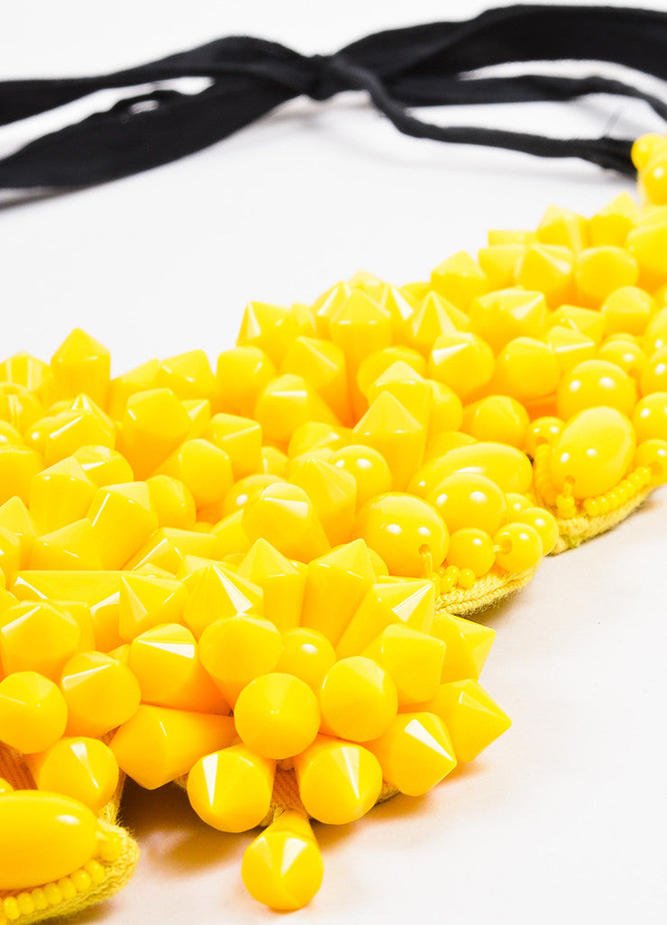 Prada Bright Yellow Acrylic Spiked Bead Bib Necklace Detail 2