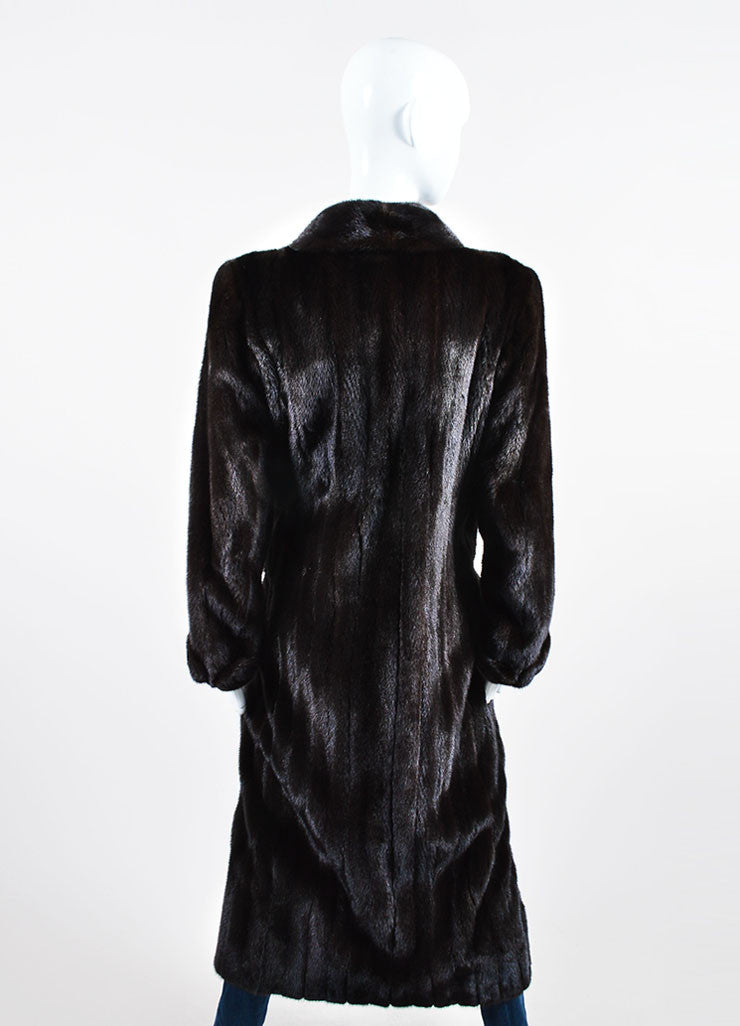 Brown Ralph Lauren Mink Fur Long Coat Backview