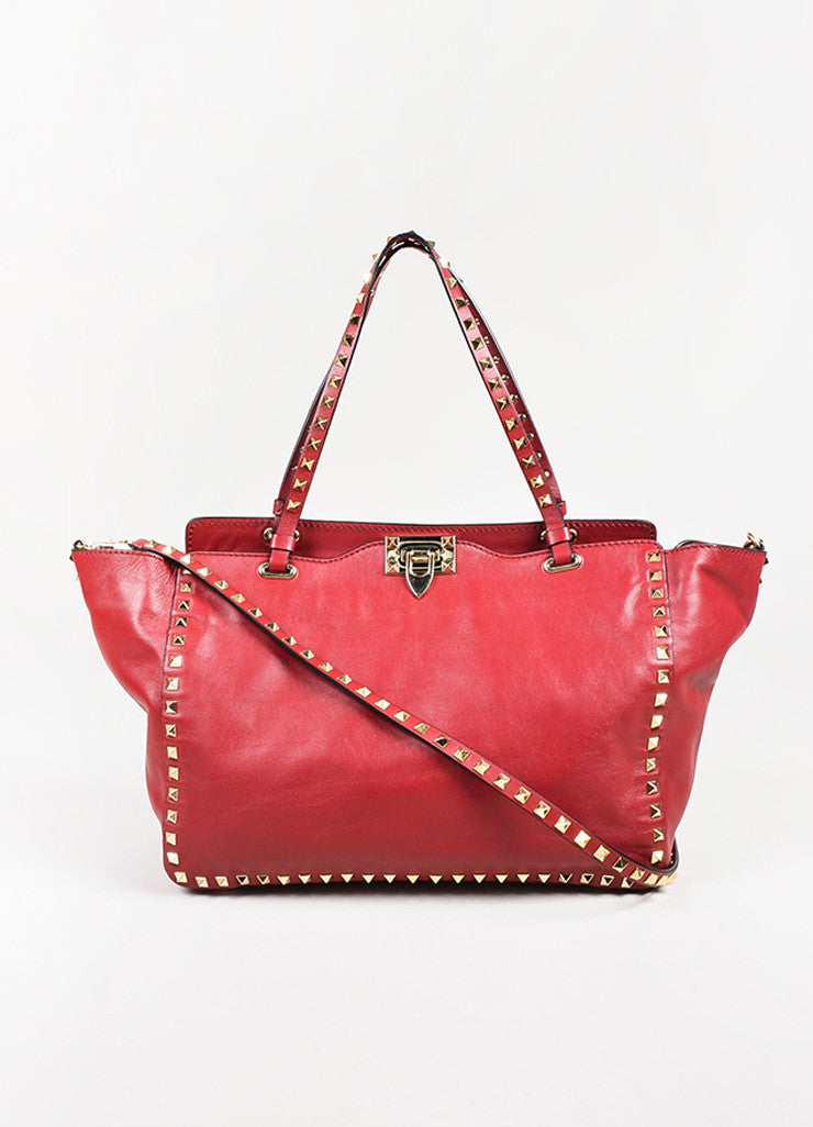 "Valentino Red Calfskin Leather ""Medium Rockstud Tote"" Bag Front"