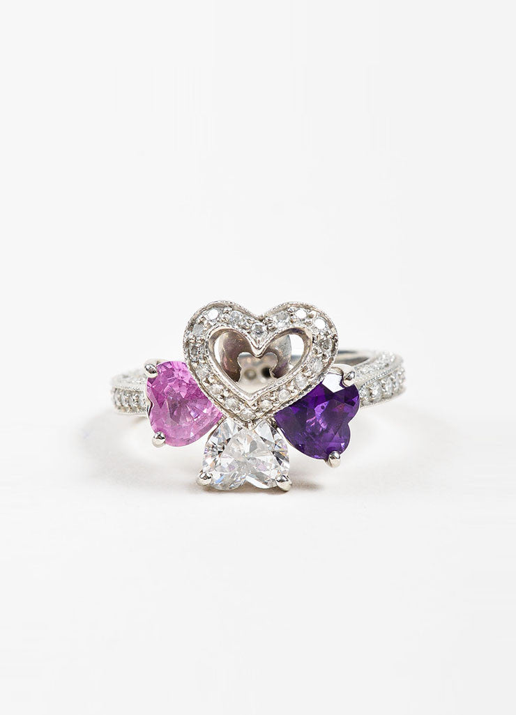Platinum, Diamond. Pink Sapphire, and Amethyst Four Heart Ring Frontview
