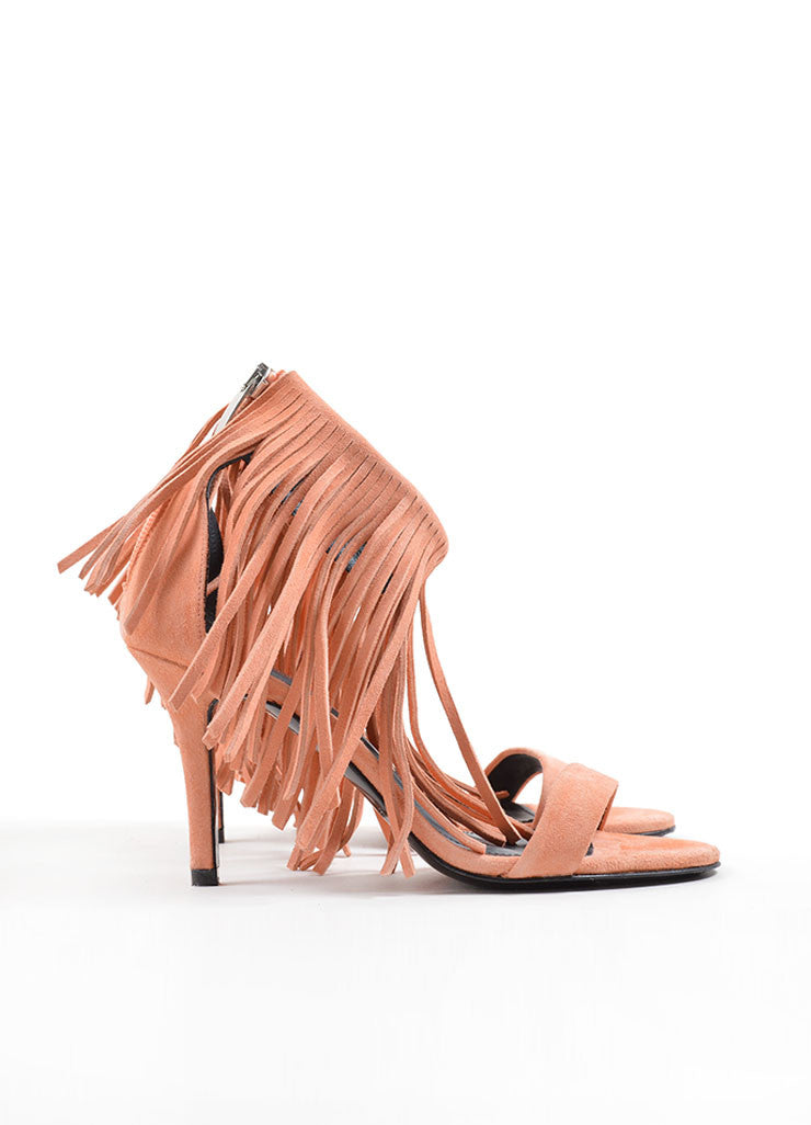 "Elyse Walker Peach Suede Fringe Ankle Strap ""Alex"" Heeled Sandals Sideview"