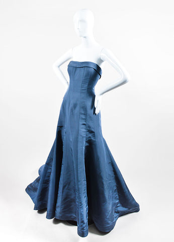 Blue Austin Scarlett Strapless Flare Train Mermaid Gown Sideview