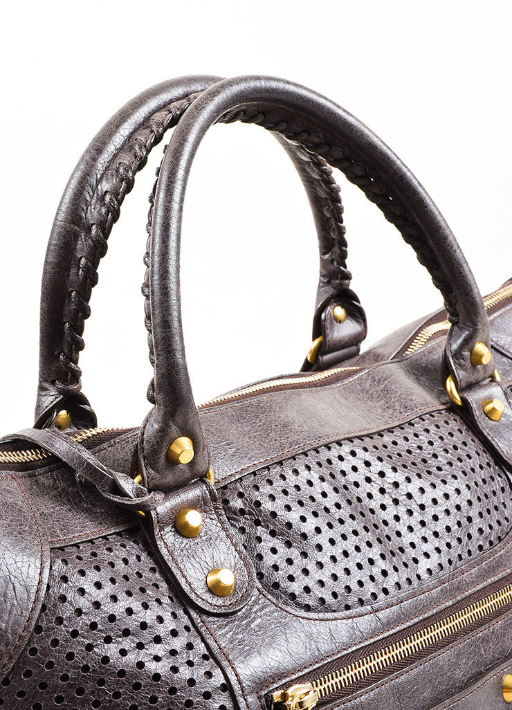 "Balenciaga Dark Grey Distressed Leather ""Classic Perforated Work"" Bag Detail 3"