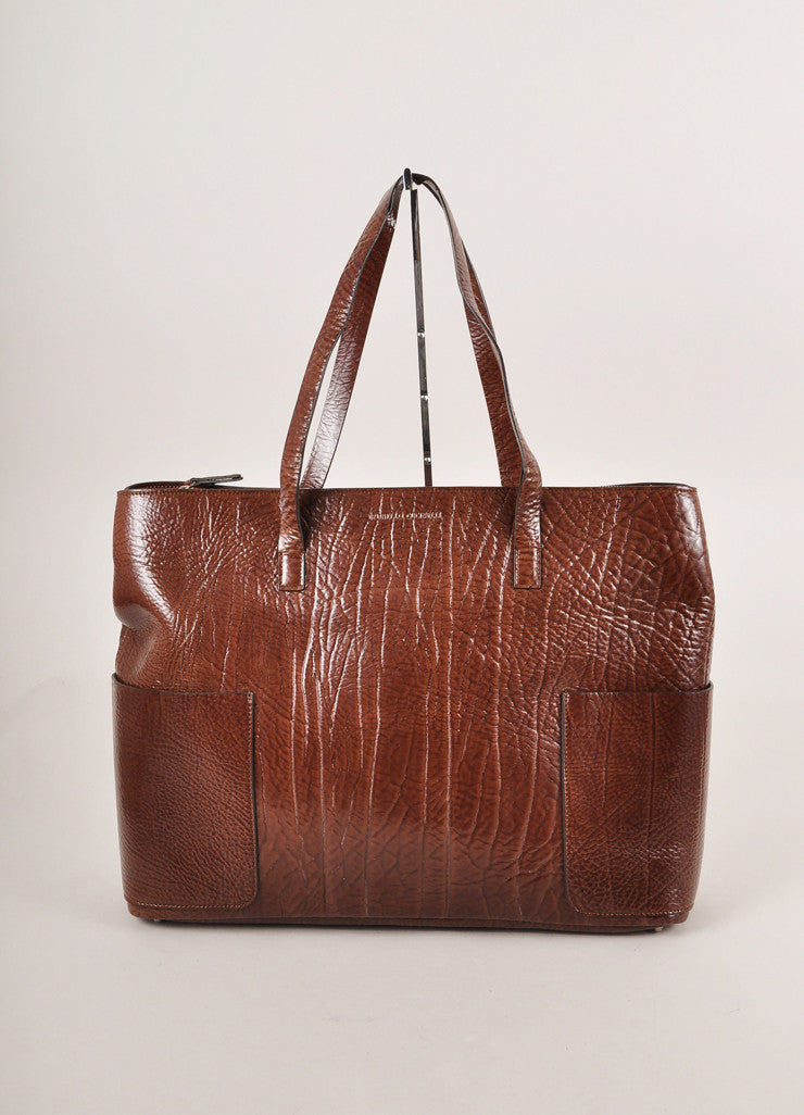 Brunello Cucinelli Brown Patent Textured Leather Oversized Zip Tote Bag Frontview