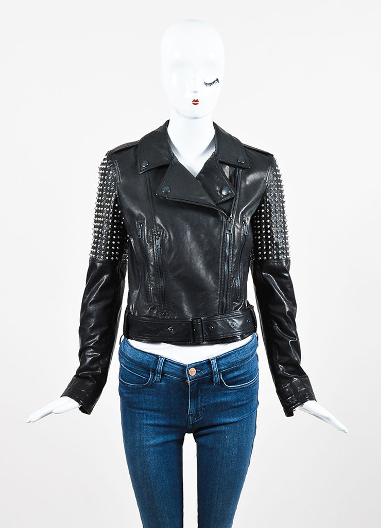 "Burberry Brit Black Leather Silver Toned Stud ""Valletort"" Zip Moto Jacket Frontview"