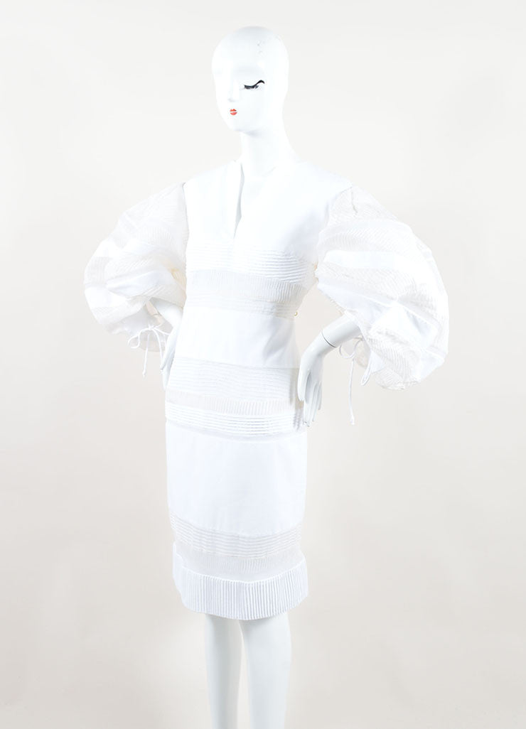 Chado Ralph Rucci White Sheer Puff Sleeve Dress Side