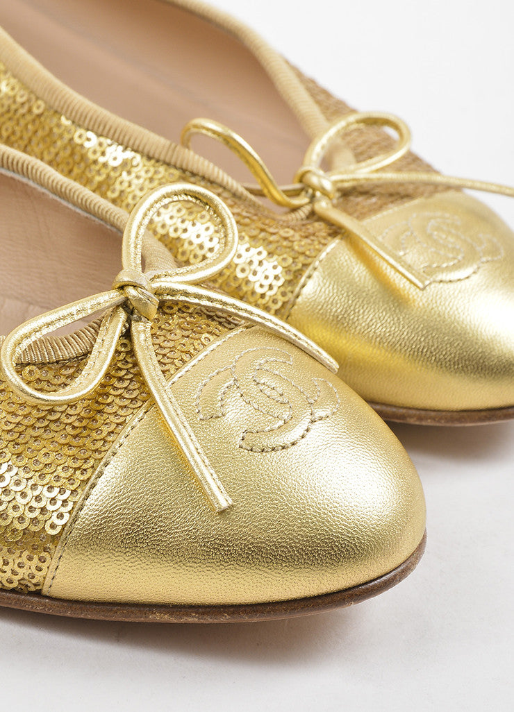 Gold Chanel Leather Cap Toe Sequin Ballet Flats Detail